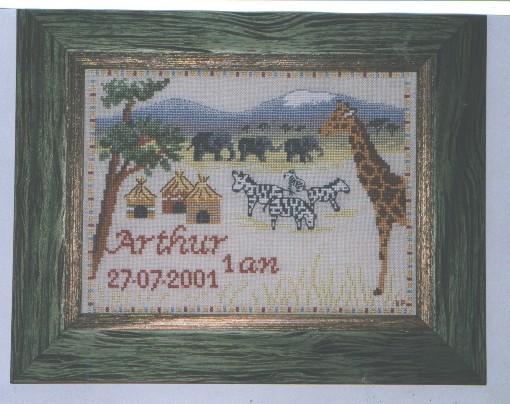 Tableau Afrique (modèle De Fil en Aiguille) pour Arthur