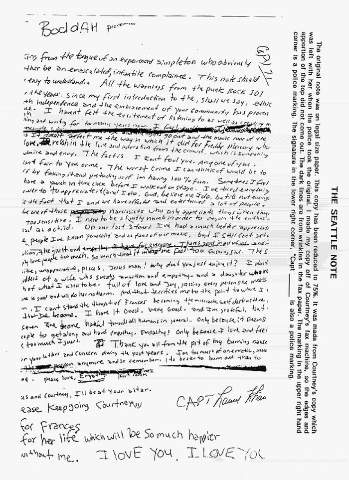 lettre kurt cobain Lettre d'adieu de Kurt Cobain (adieu à la vie ou à la scène?)   L  lettre kurt cobain