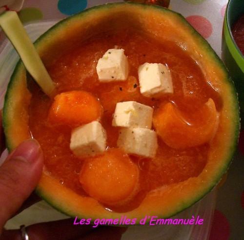 Soupe de melon aux dés de féta