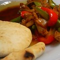 Beef stir-fry with pitta bread