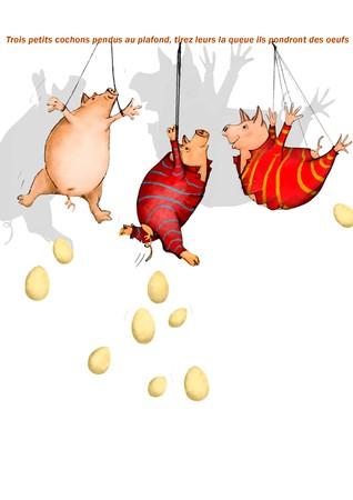 Trois petits cochons pendus au plafond samina - Un petit cochon pendu au plafond ...