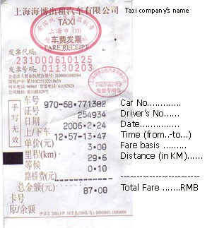 the taxi receipt each time