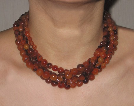 Collier multirang fimo imitation ambre