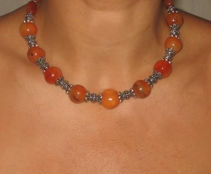 Collier fimo imitation ambre et perles argent
