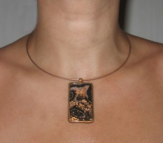 Collier avec pendentif fimo en mokume gane
